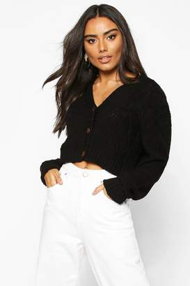 boohoo Button Through Cable Knit Crop Cardigan