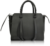 Elena Ghisellini Small Usonia Sensua Black Leather Tote Bag