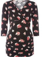 Dorothy Perkins Womens **Maternity Black Floral and Spot Print Wrap Top- Black