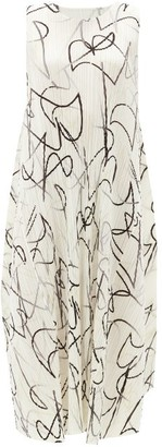 Pleats Please Issey Miyake Squiggle-print Technical-pleated Midi Dress - White Black