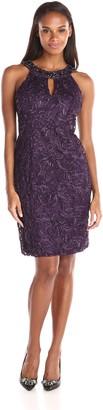 Ignite Women's Shoet Ebellished Neck Key Hole Front Sutach Evening Dress