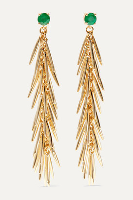 Ileana Makri Grass Dangling 18-karat Gold Emerald Earrings