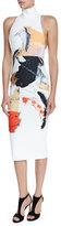 SOLACE London Dakota Sleeveless Printed Midi Dress, Cream/Multicolor