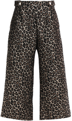 Mother of Pearl Flynn Cropped Embellished Leopard-jacquard Wide-leg Pants