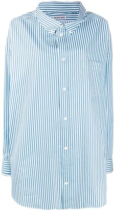 Balenciaga Stripe-Pattern Logo-Print Oversize Shirt