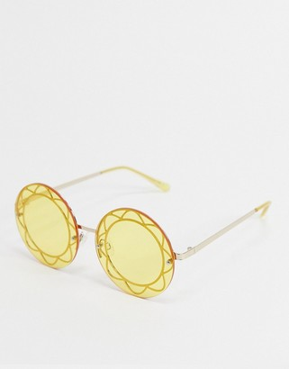 Jeepers Peepers x ASOS round sunglasses in yellow with flower detail