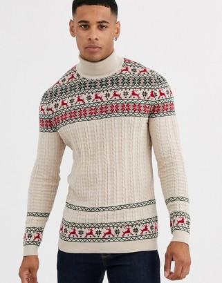 Asos Design DESIGN fairisle sweater in with stag design in oatmeal-Beige