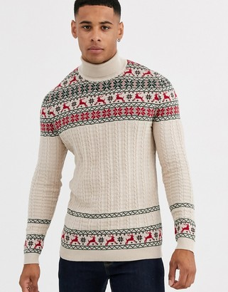 Asos Design DESIGN fairisle sweater in with stag design in oatmeal