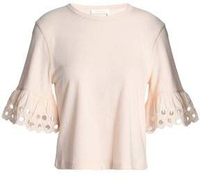 See by Chloe Broderie Anglaise-trimmed Cotton-jersey Top