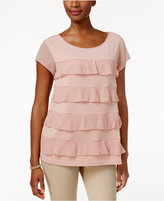 Charter Club Tiered Sheer-Sleeve Top, Only at Macy's