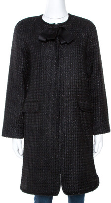 Carolina Herrera Black Lurex Tweed Coat M
