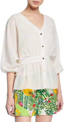 Trina Turk Monochrome Jacquard Button-Front Dolman Top