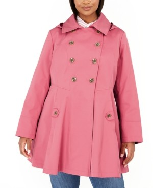 Via Spiga Plus Size Double-Breasted Hooded Skirted Trench Coat