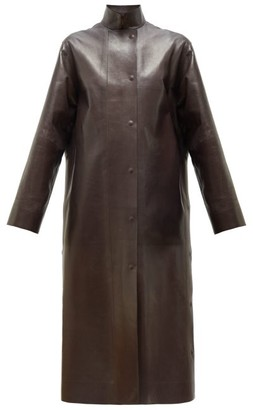 The Row Emely Waxed-leather Coat - Womens - Dark Brown