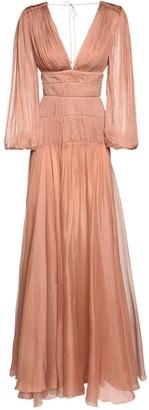 Maria Lucia Hohan Dania Metallic Silk Long Dress