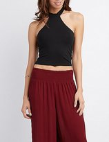 Charlotte Russe Mock Neck Halter Crop Top