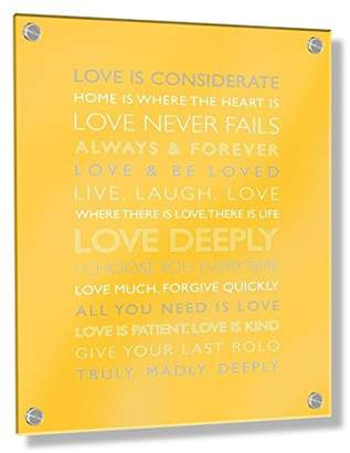 Camilla And Marc Feel Good Art Wall Mounted Acrylic Frame with Stand-Off Bolts (30 x 20 x 0.6 cm, Small, Buttercup Yellow, Love Deeply/Nursery Dècor)