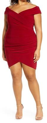 La Femme Off the Shoulder Jersey Ruched Sheath Minidress