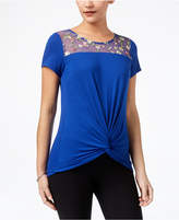 NY Collection Twist-Front Illusion-Contrast Top