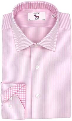 Lorenzo Uomo Textured Stripe Easy Iron Trim Fit Dress Shirt