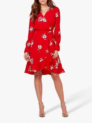 Sosandar Floral Print Faux Wrap Dress, Red