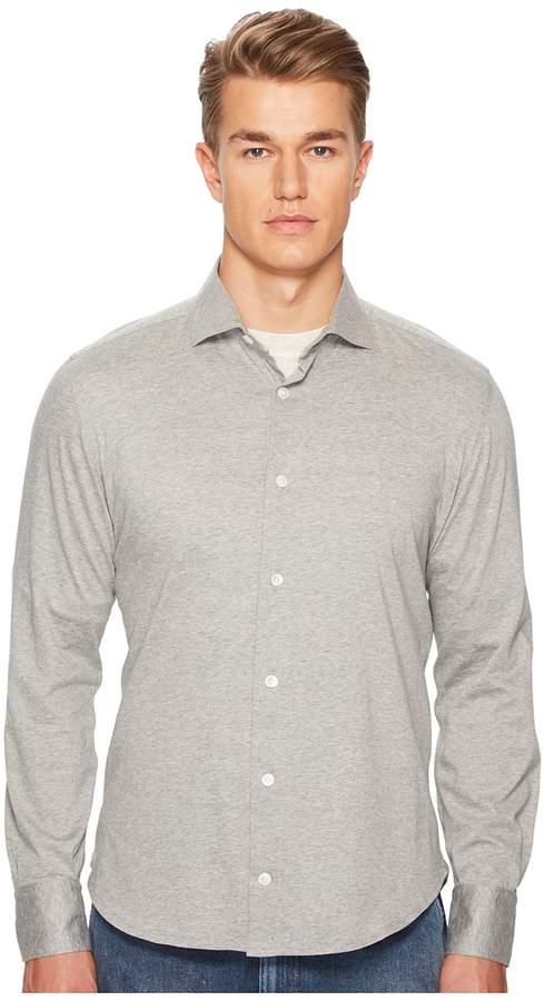Eleventy Spread Collar Jersey Sport Shirt
