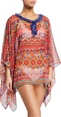 Etro Tassel-Collar Watercolor Printed Coverup Poncho