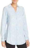 Foxcroft Geo Print Chambray Shirt