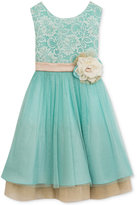 Rare Editions Mint Lace & Champagne Party Dress, Toddler & Little Girls (2T-6X)
