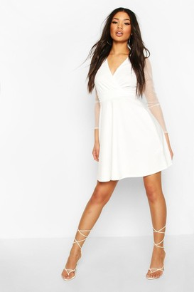 boohoo Dobby Mesh Wrap Skater Dress