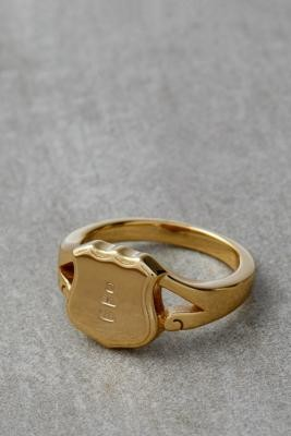 Serge DeNimes Shield Ring - Gold M/L at Urban Outfitters