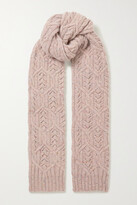 Thumbnail for your product : Loro Piana Cable-knit Melange Cashmere Scarf - Red