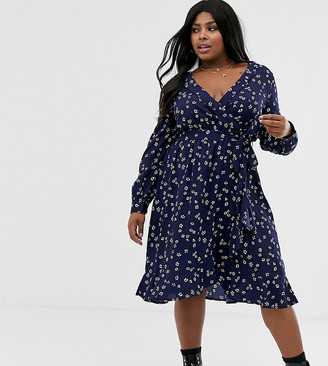 Influence Plus wrap front midi dress in navy floral