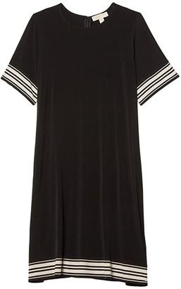 MICHAEL Michael Kors Size Solid Border Dress (Black) Women's Dress