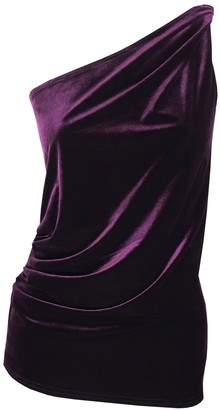 Me & Thee Ever Changing Aubergine Velvet One Shoulder Top