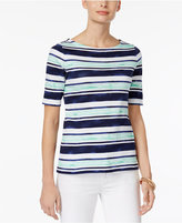 Charter Club Cotton Elbow-Sleeve Striped Top, Only at Macy's