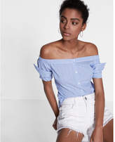 Express Striped Off The Shoulder Button Front Blouse