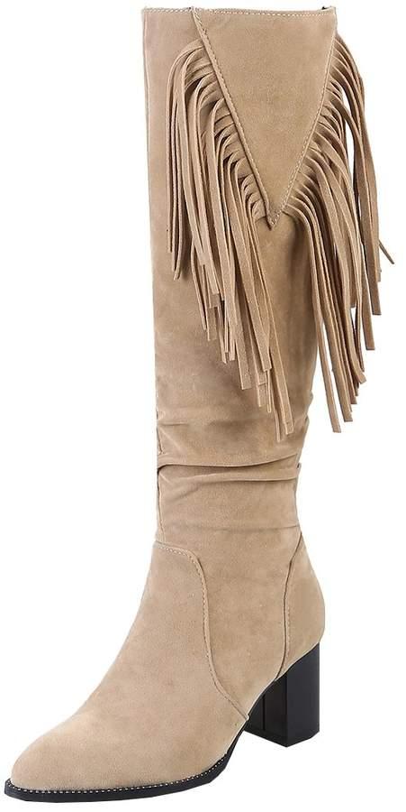 20ad3a8497d4a Artfaerie Women's Block Heel Knee High Boots with Tassel Nubuck Leather  Long Fringe Boots(US 8.5, )