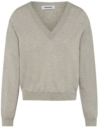Theavant V-Neck Merino Sweater In Light Grey