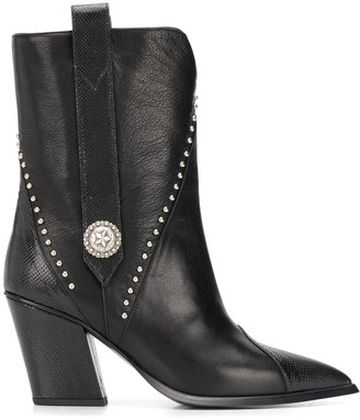 Kate Cate Lizard-Effect Studded Boots