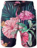 Pitsa7m Men's Flamingo Leaf Quick-drying Boardshort Swimm Surf Trunk Short Beach Pant