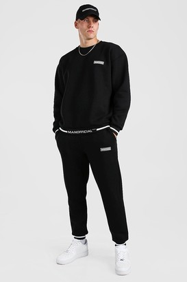 boohoo Mens Black Oversized Man Official Rib Detail jumper Tracksuit, Black
