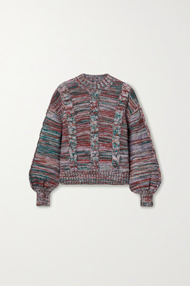 Stine Goya Gio Melange Cable-knit Sweater - Purple