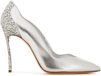 Casadei Glittered Metallic Leather Pumps