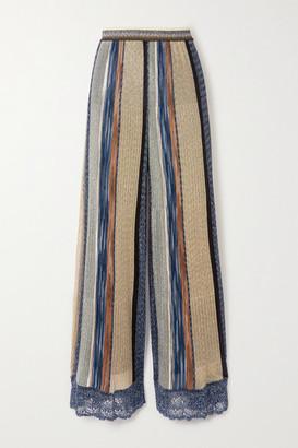 Missoni Crochet-trimmed Striped Metallic Knitted Wide-leg Pants - Blue