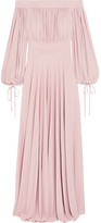 Alexander McQueen Off-the-shoulder Gathered Jersey Gown - Pastel pink