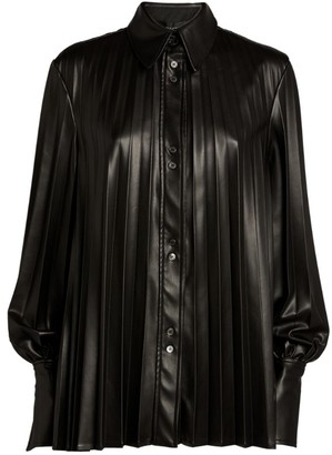 Ellery Pleated Etna Faux-Leather Shirt