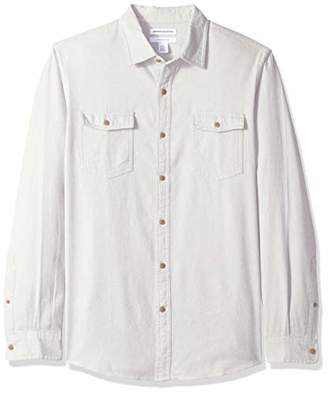 Amazon Essentials Men's Slim-Fit Long-Sleeve Solid Flannel Shirt