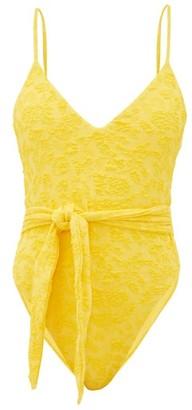 Mara Hoffman Gamela Tie-front Seersucker Swimsuit - Womens - Yellow