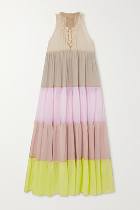 Yvonne S Hippy Tiered Color-block Cotton-voile Maxi Dress - Pink